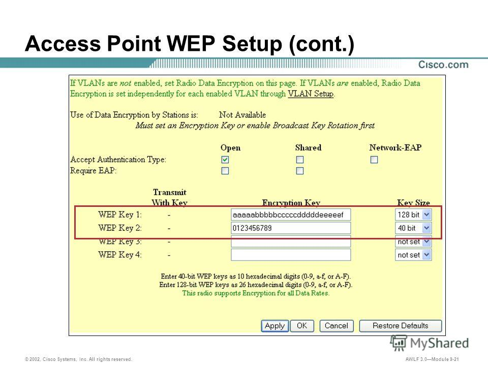 © 2002, Cisco Systems, Inc. All rights reserved. AWLF 3.0Module 9-21 Access Point WEP Setup (cont.)