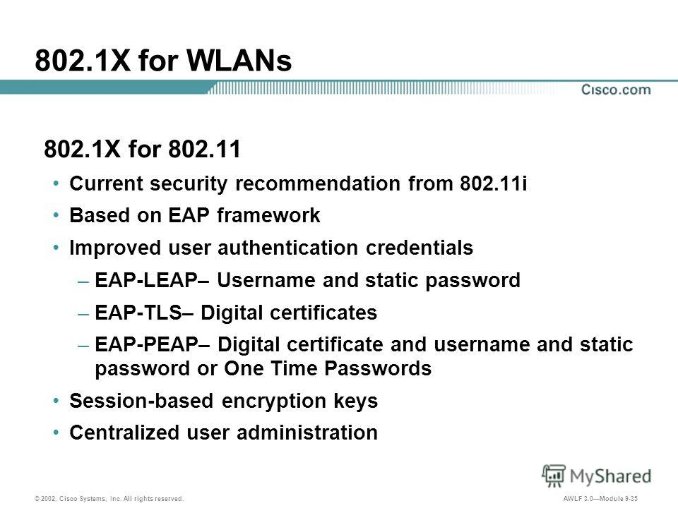 © 2002, Cisco Systems, Inc. All rights reserved. AWLF 3.0Module 9-35 802.1X for WLANs 802.1X for 802.11 Current security recommendation from 802.11i Based on EAP framework Improved user authentication credentials –EAP-LEAP– Username and static passwo