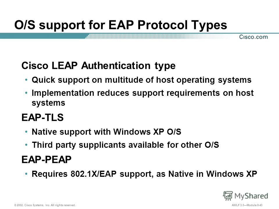 © 2002, Cisco Systems, Inc. All rights reserved. AWLF 3.0Module 9-43 O/S support for EAP Protocol Types Cisco LEAP Authentication type Quick support on multitude of host operating systems Implementation reduces support requirements on host systems EA