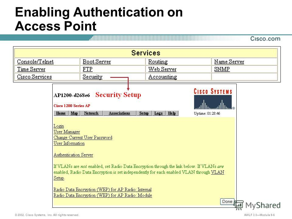 AWLF 3.0Module 9-6 Enabling Authentication on Access Point