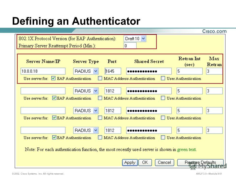 © 2002, Cisco Systems, Inc. All rights reserved. AWLF 3.0Module 9-61 Defining an Authenticator