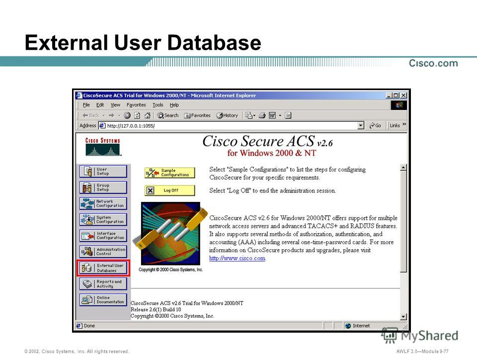 © 2002, Cisco Systems, Inc. All rights reserved. AWLF 3.0Module 9-77 External User Database