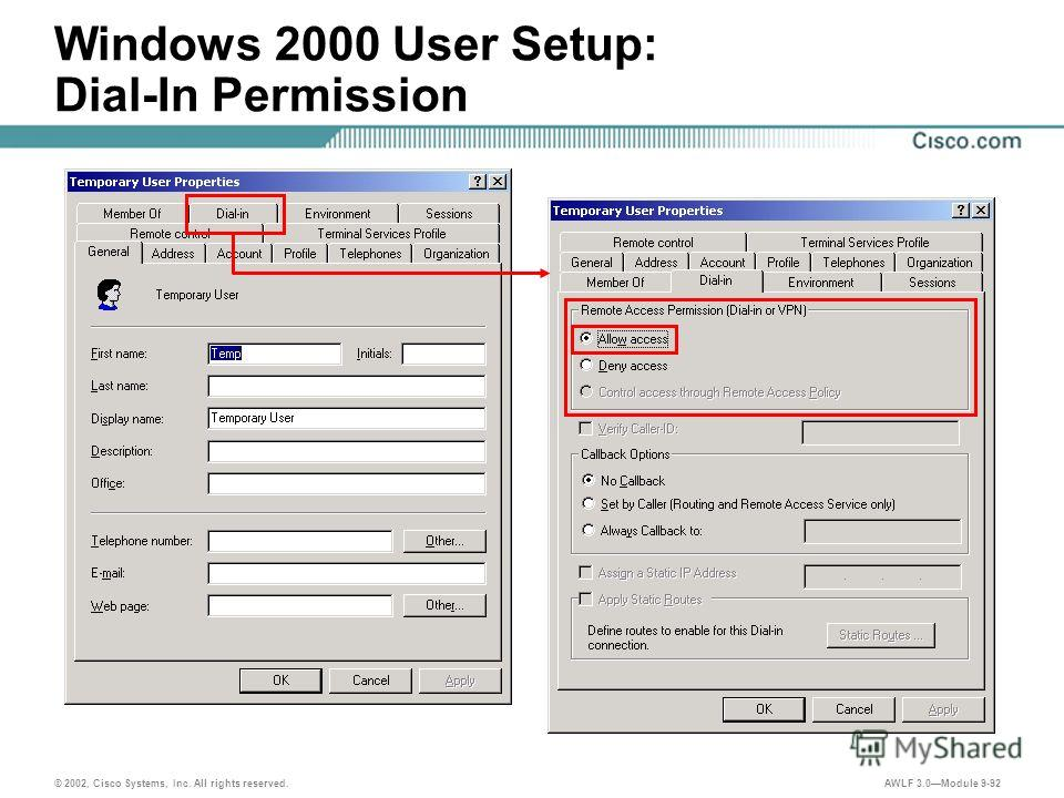 © 2002, Cisco Systems, Inc. All rights reserved. AWLF 3.0Module 9-92 Windows 2000 User Setup: Dial-In Permission