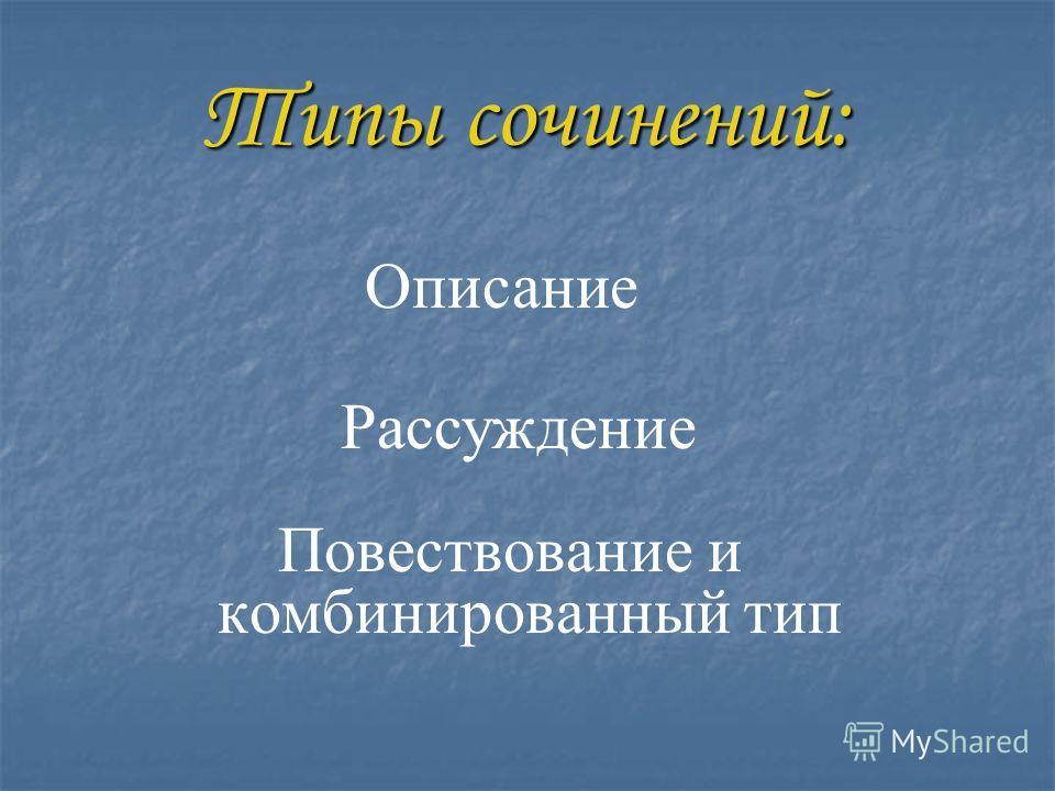 Типы сочинений: Повествование и комбинированный тип Описание Рассуждение