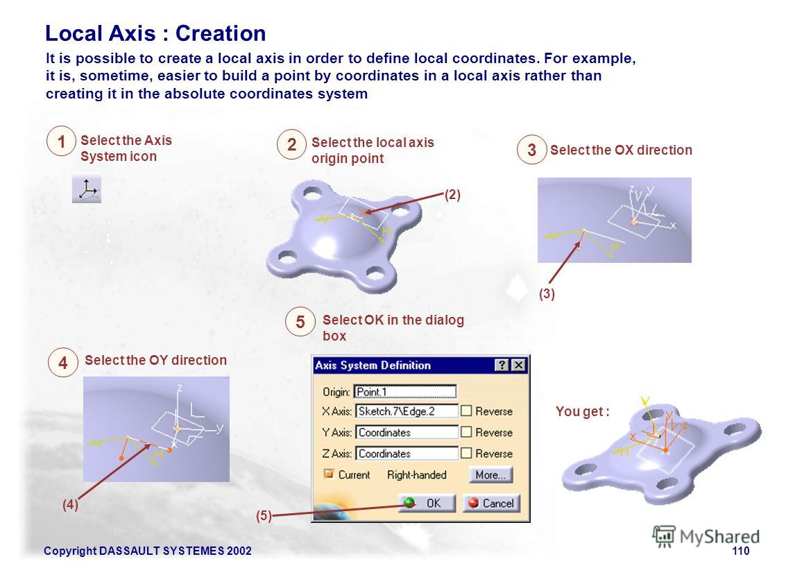 Copyright DASSAULT SYSTEMES 2002110 Local Axis : Creation It is possible to create a local axis in order to define local coordinates. For example, it is, sometime, easier to build a point by coordinates in a local axis rather than creating it in the