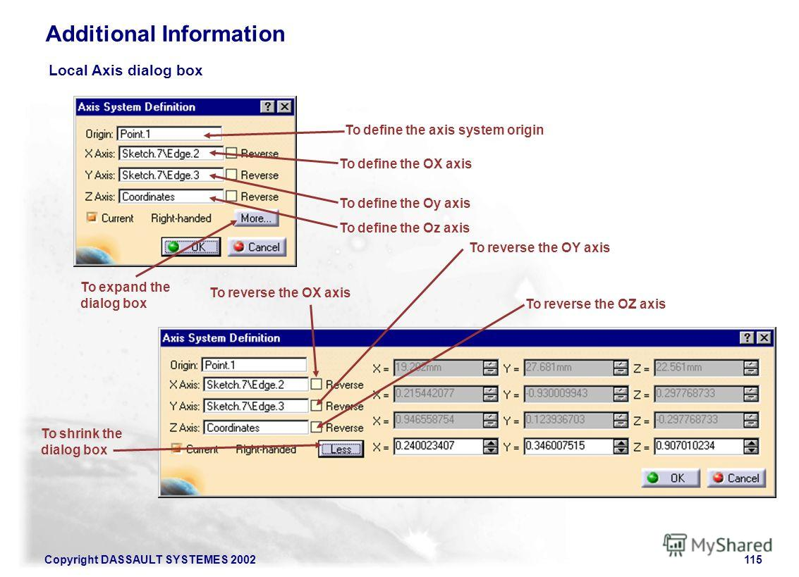 Copyright DASSAULT SYSTEMES 2002115 Additional Information Local Axis dialog box To expand the dialog box To shrink the dialog box To define the axis system origin To define the OX axis To define the Oy axis To define the Oz axis To reverse the OZ ax