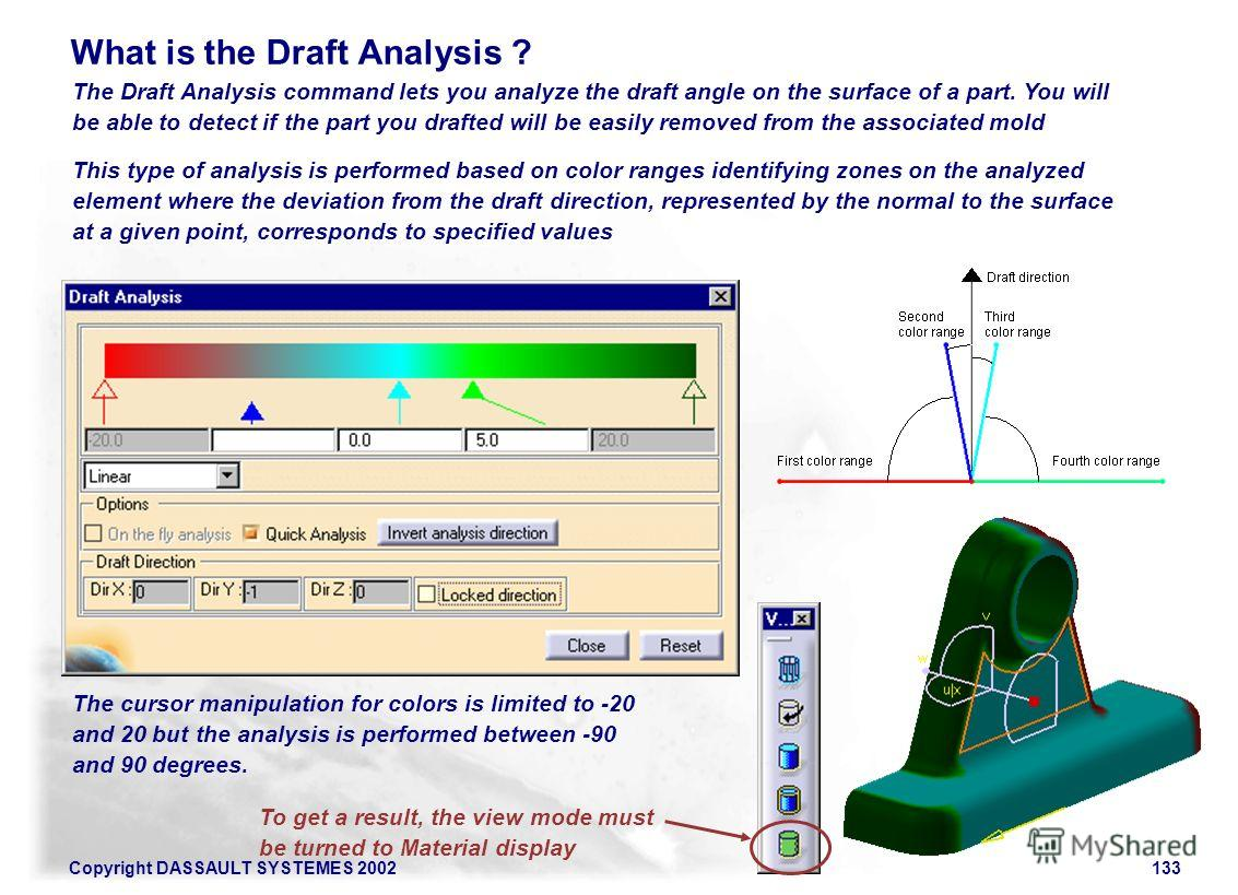 Copyright DASSAULT SYSTEMES 2002133 The Draft Analysis command lets you analyze the draft angle on the surface of a part. You will be able to detect if the part you drafted will be easily removed from the associated mold What is the Draft Analysis ?