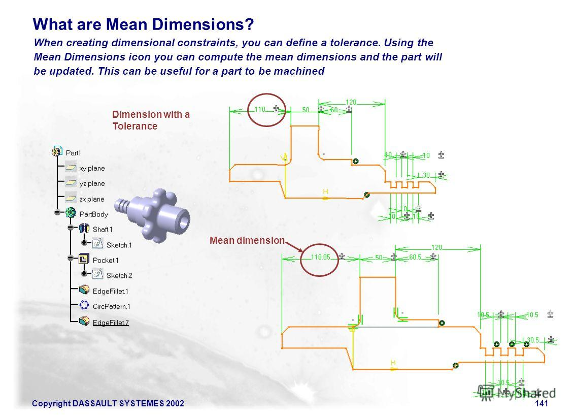 Copyright DASSAULT SYSTEMES 2002141 When creating dimensional constraints, you can define a tolerance. Using the Mean Dimensions icon you can compute the mean dimensions and the part will be updated. This can be useful for a part to be machined What