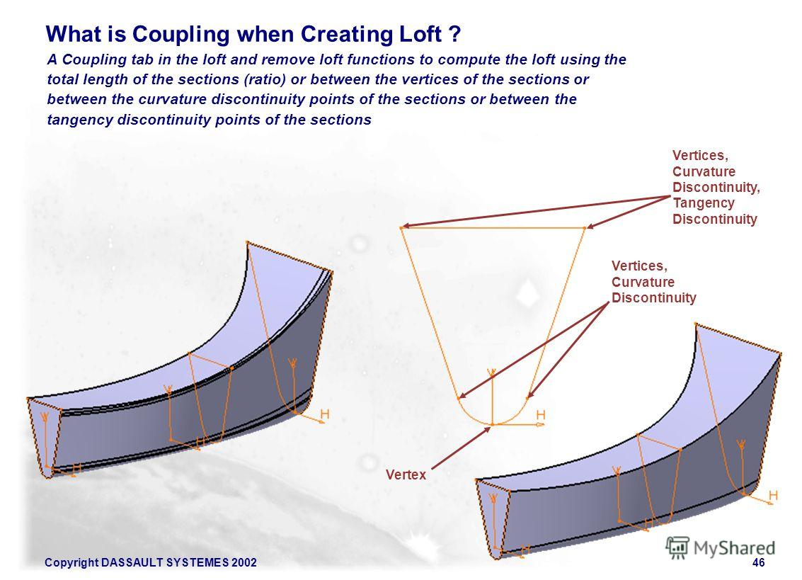 Copyright DASSAULT SYSTEMES 200246 A Coupling tab in the loft and remove loft functions to compute the loft using the total length of the sections (ratio) or between the vertices of the sections or between the curvature discontinuity points of the se