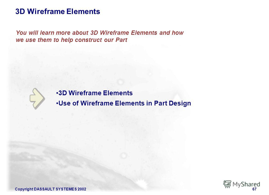 Copyright DASSAULT SYSTEMES 200267 You will learn more about 3D Wireframe Elements and how we use them to help construct our Part 3D Wireframe Elements Use of Wireframe Elements in Part Design