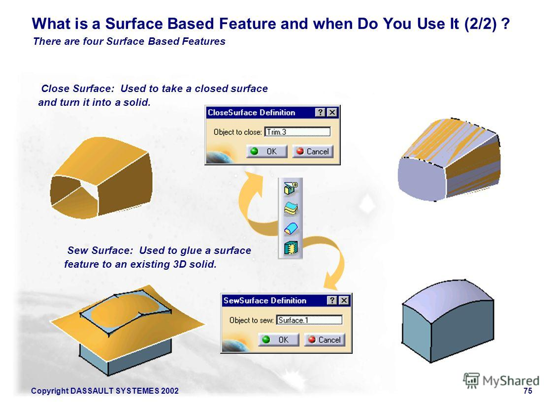 Copyright DASSAULT SYSTEMES 200275 There are four Surface Based Features What is a Surface Based Feature and when Do You Use It (2/2) ? Sew Surface: Used to glue a surface feature to an existing 3D solid. Close Surface: Used to take a closed surface