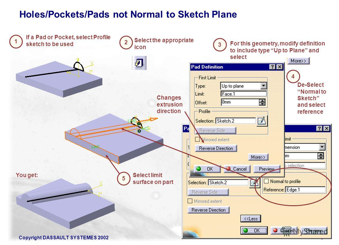 Copyright DASSAULT SYSTEMES 20028 Holes/Pockets/Pads not Normal to Sketch Plane 1 If a Pad or Pocket, select Profile sketch to be used 2 De-Select Normal to Sketch and select reference 3 For this geometry, modify definition to include type Up to Plan
