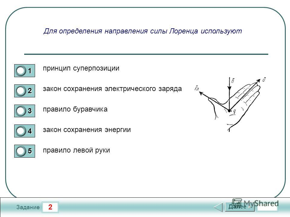 2 Задание Для определения направления силы Лоренца используют принцип суперпозиции закон сохранения электрического заряда правило буравчика закон сохранения энергии правило левой руки 1 2 3 4 5