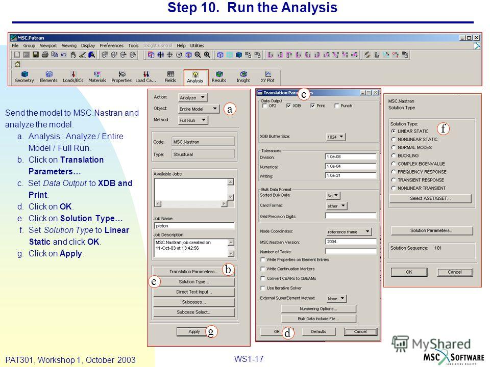 WS1-17 PAT301, Workshop 1, October 2003 Step 10. Run the Analysis Send the model to MSC.Nastran and analyze the model. a. Analysis : Analyze / Entire Model / Full Run. b. Click on Translation Parameters… c. Set Data Output to XDB and Print. d. Click