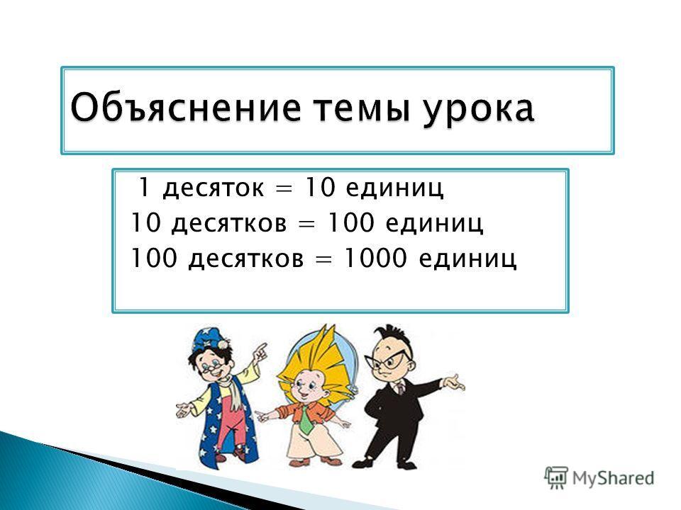 1 десяток = 10 единиц 10 десятков = 100 единиц 100 десятков = 1000 единиц