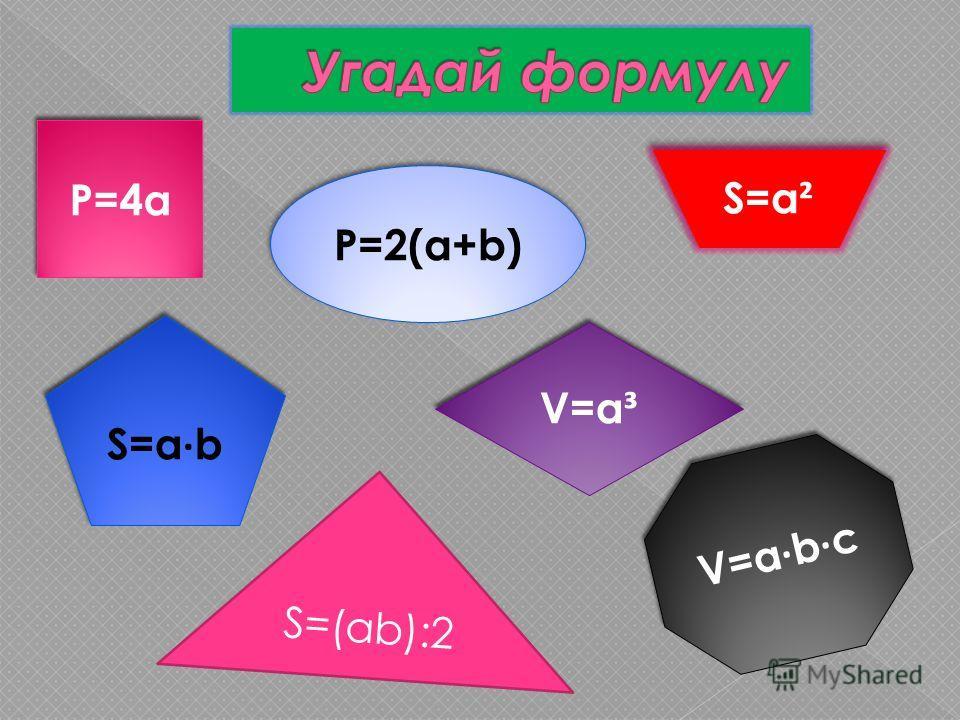 S=(ab):2 V=a · b · c V=a ³ S=a · b S=a ² P=2(a+b) P=4a