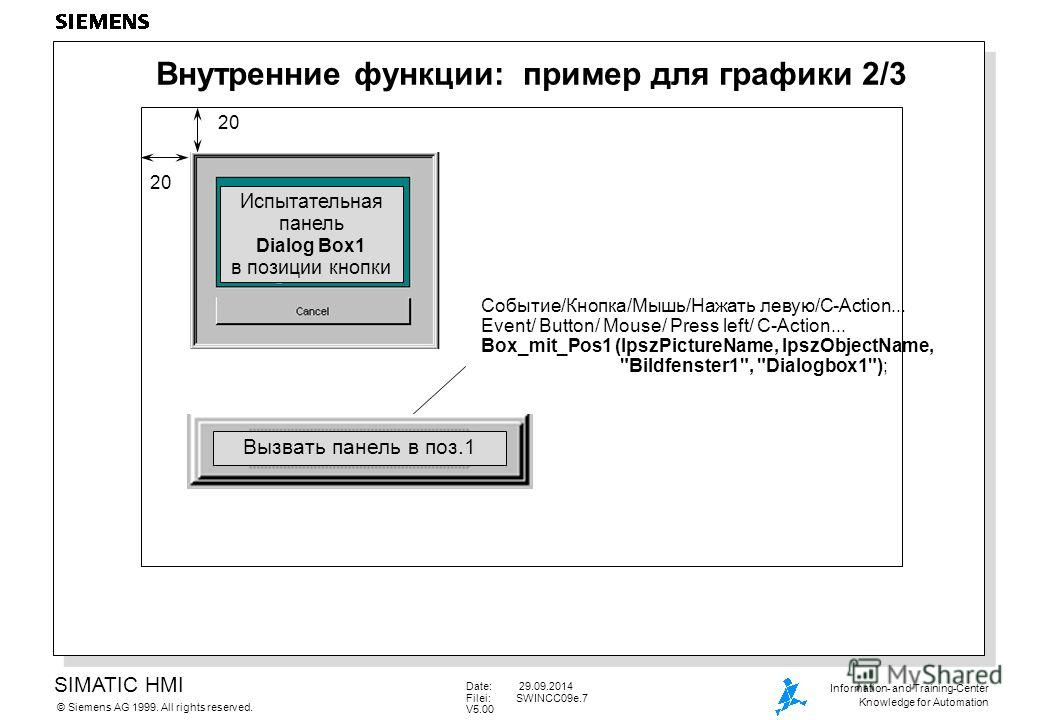 SIMATIC HMI Siemens AG 1999. All rights reserved.© Information- and Training-Center Knowledge for Automation Date: 29.09.2014 Filei:SWINCC09e.7 V5.00 Внутренние функции: пример для графики 2/3 Событие/Кнопка/Мышь/Нажать левую/С-Action... Event/ Butto