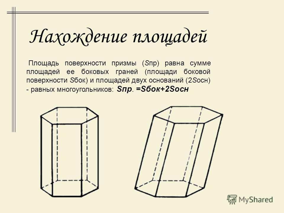 Высотой (h) призмы называется перпендикуляр, опущенный из любой точки одного основания на плоскость другого основания призмы. Отрезок, концы которого - две вершины, не принадлежащие одной грани призмы, называют ее диагональю. (Отрезок A1D - диагональ