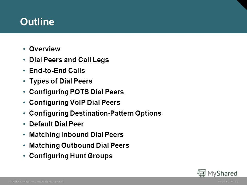 © 2006 Cisco Systems, Inc. All rights reserved. CVOICE v5.02-2 Outline Overview Dial Peers and Call Legs End-to-End Calls Types of Dial Peers Configuring POTS Dial Peers Configuring VoIP Dial Peers Configuring Destination-Pattern Options Default Dial