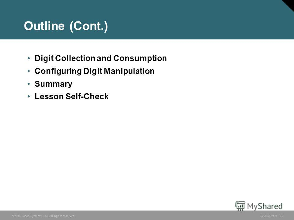 © 2006 Cisco Systems, Inc. All rights reserved. CVOICE v5.02-3 Outline (Cont.) Digit Collection and Consumption Configuring Digit Manipulation Summary Lesson Self-Check