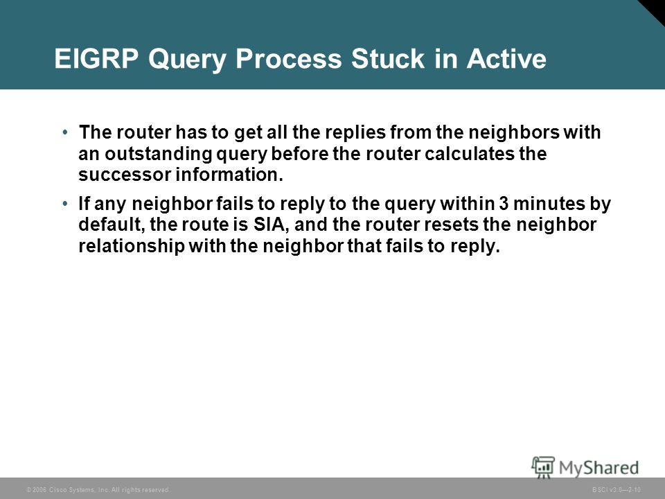 © 2006 Cisco Systems, Inc. All rights reserved. BSCI v3.02-10 EIGRP Query Process Stuck in Active The router has to get all the replies from the neighbors with an outstanding query before the router calculates the successor information. If any neighb