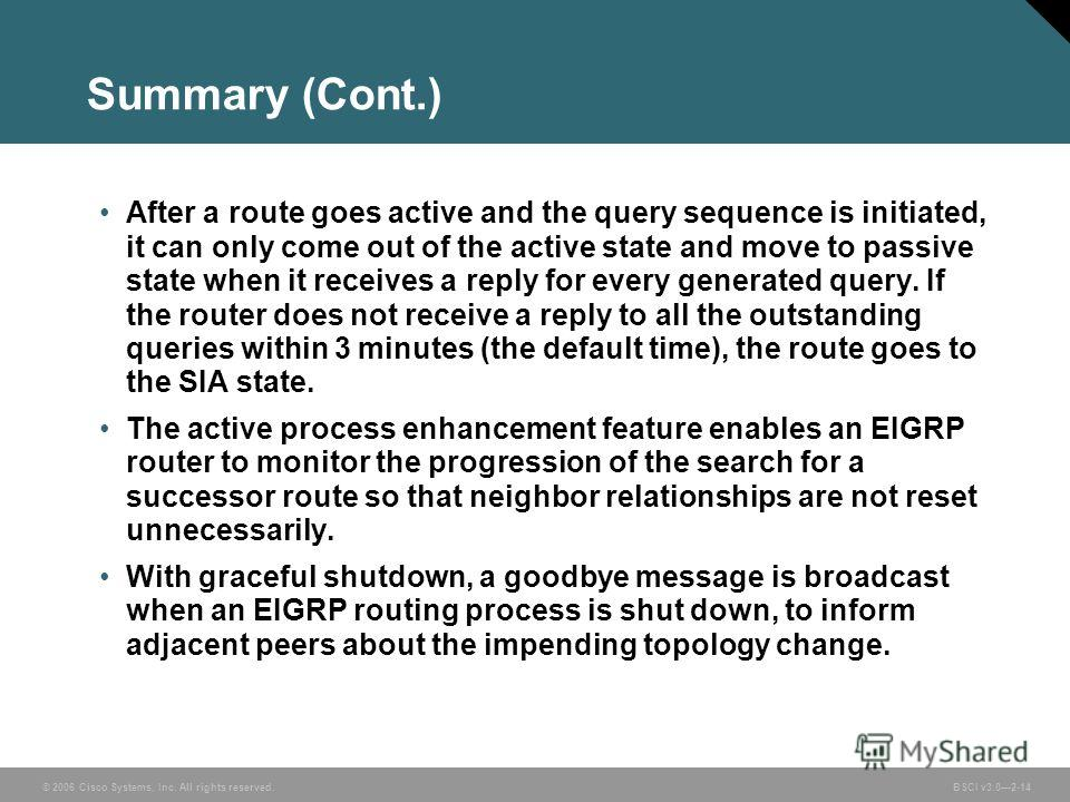 © 2006 Cisco Systems, Inc. All rights reserved. BSCI v3.02-14 Summary (Cont.) After a route goes active and the query sequence is initiated, it can only come out of the active state and move to passive state when it receives a reply for every generat
