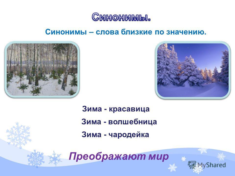 Синонимы – слова близкие по значению. Зима - красавица Зима - волшебница Зима - чародейка Преображают мир
