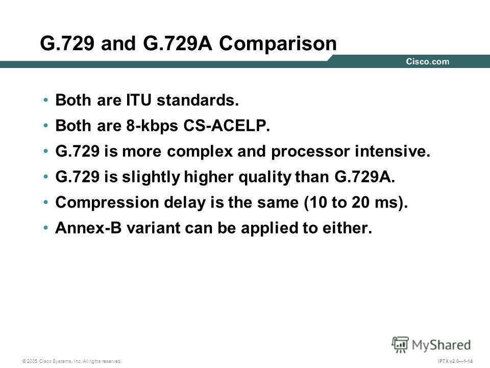 © 2005 Cisco Systems, Inc. All rights reserved. IPTX v2.01-14 G.729 and G.729A Comparison Both are ITU standards. Both are 8-kbps CS-ACELP. G.729 is more complex and processor intensive. G.729 is slightly higher quality than G.729A. Compression delay