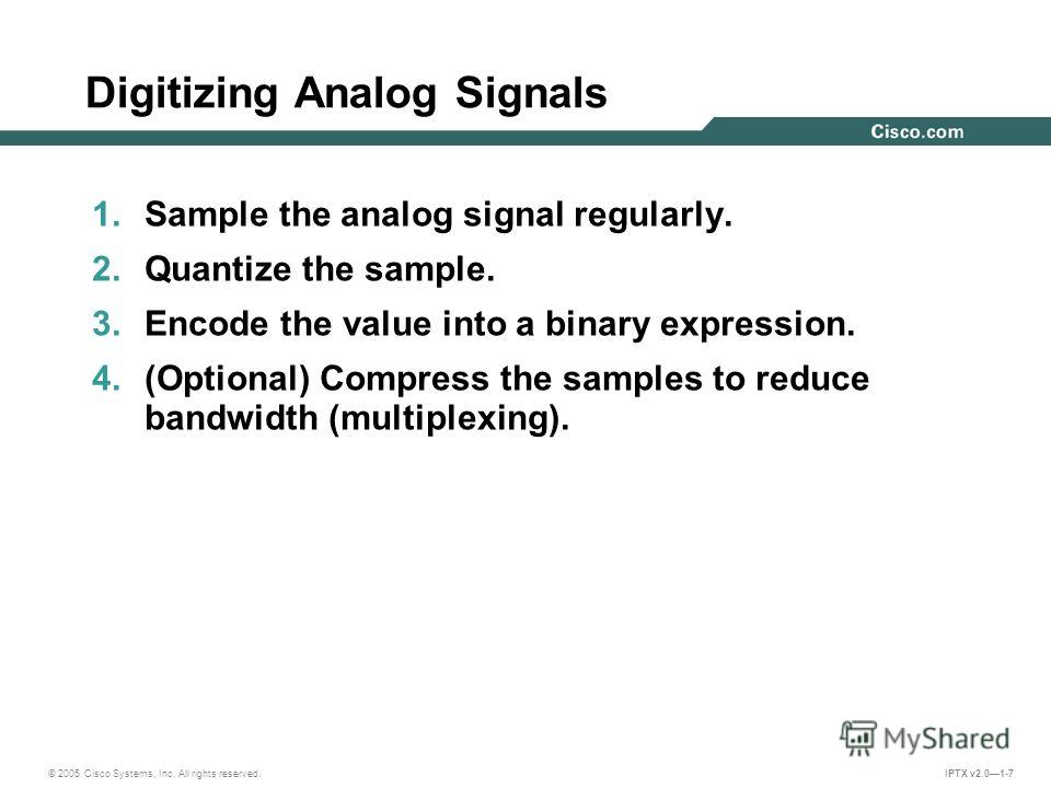 © 2005 Cisco Systems, Inc. All rights reserved. IPTX v2.01-7 Digitizing Analog Signals 1. Sample the analog signal regularly. 2. Quantize the sample. 3. Encode the value into a binary expression. 4.(Optional) Compress the samples to reduce bandwidth