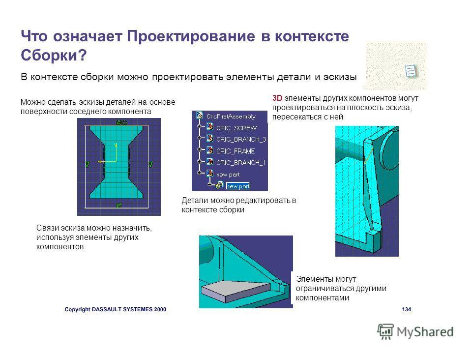 Что означает Проектирование в контексте Сборки? В контексте сборки можно проектировать элементы детали и эскизы Можно сделать эскизы деталей на основе поверхности соседнего компонента 3D элементы других компонентов могут проектироваться на плоскость