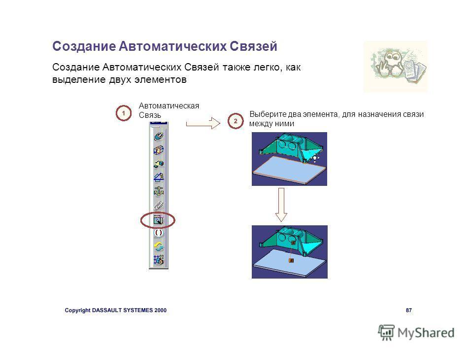 Создание Автоматических Связей Создание Автоматических Связей также легко, как выделение двух элементов Автоматическая Связь Выберите два элемента, для назначения связи между ними