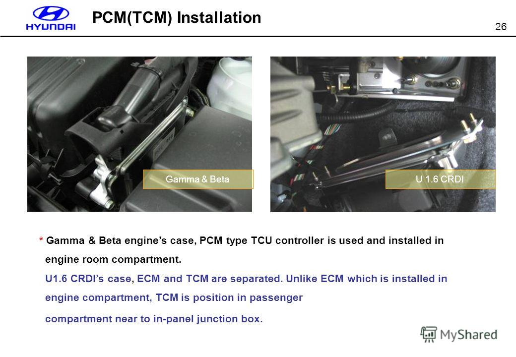 26 PCM(TCM) Installation * Gamma & Beta engines case, PCM type TCU controller is used and installed in engine room compartment. U1.6 CRDIs case, ECM and TCM are separated. Unlike ECM which is installed in engine compartment, TCM is position in passen