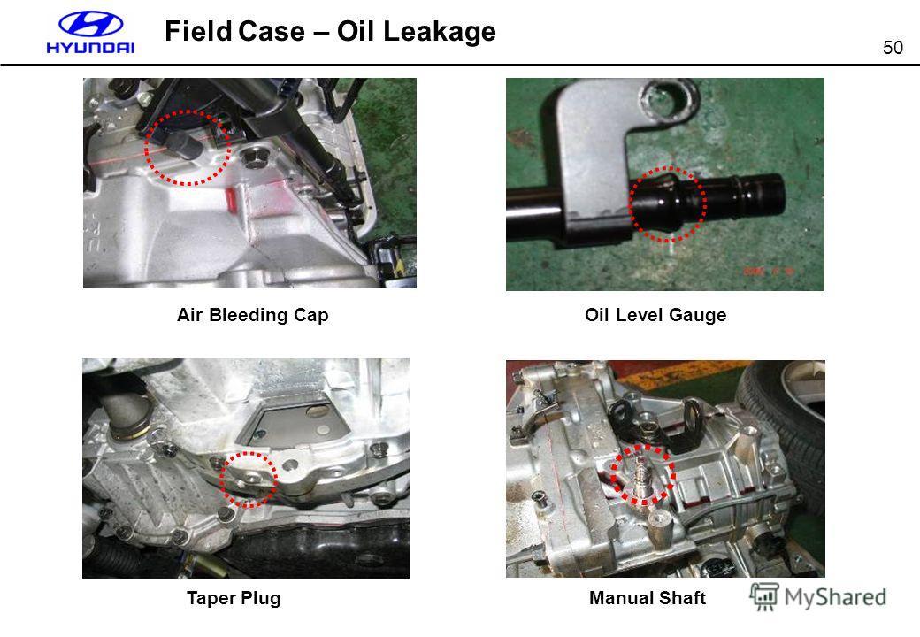 50 Field Case – Oil Leakage Air Bleeding Cap Oil Level Gauge Taper PlugManual Shaft