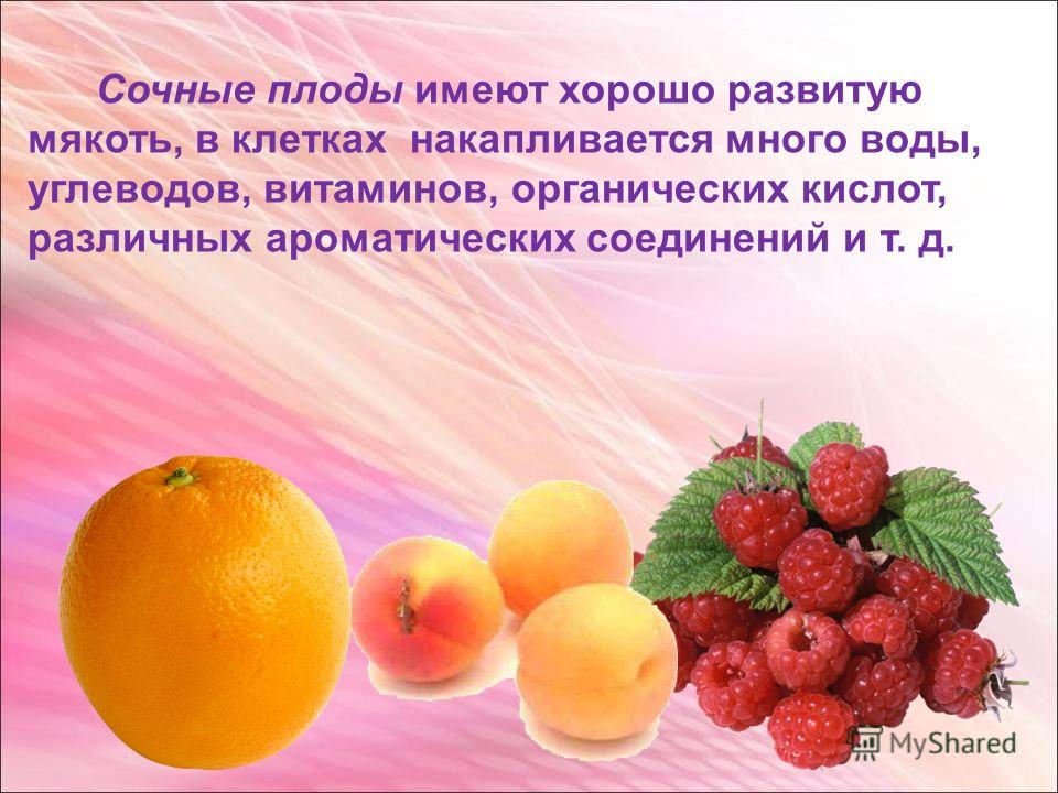 Сочные плоды имеют хорошо развитую мякоть, в клетках накапливается много воды, углеводов, витаминов, органических кислот, различных ароматических соединений и т. д.