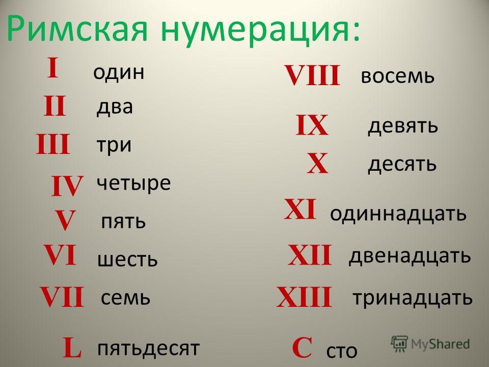Римская нумерация: один два три пять четыре шесть семь восемь одиннадцать двенадцать тринадцать девять десять I V II III IV VI VII VIII X IX XI XII XIII пятьдесят L сто C