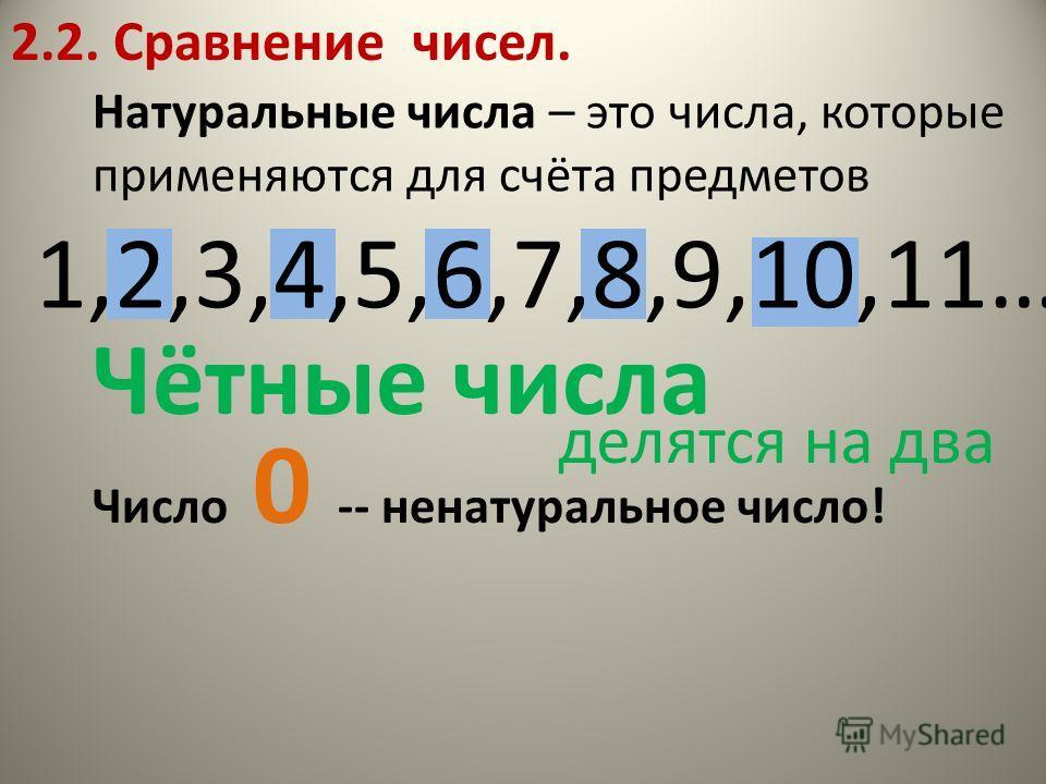 2.2. Сравнение чисел. Натуральные числа – это числа, которые применяются для счёта предметов 1,2,3,4,5,6,7,8,9,10,11… Число 0 -- ненатуральное число! Чётные числа делятся на два