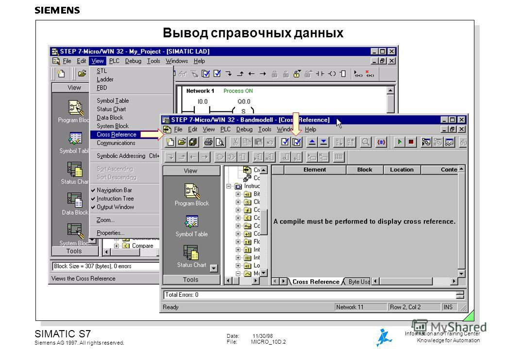Date: 11/30/98 File:MICRO_10D.2 SIMATIC S7 Siemens AG 1997. All rights reserved. Information and Training Center Knowledge for Automation Вывод справочных данных