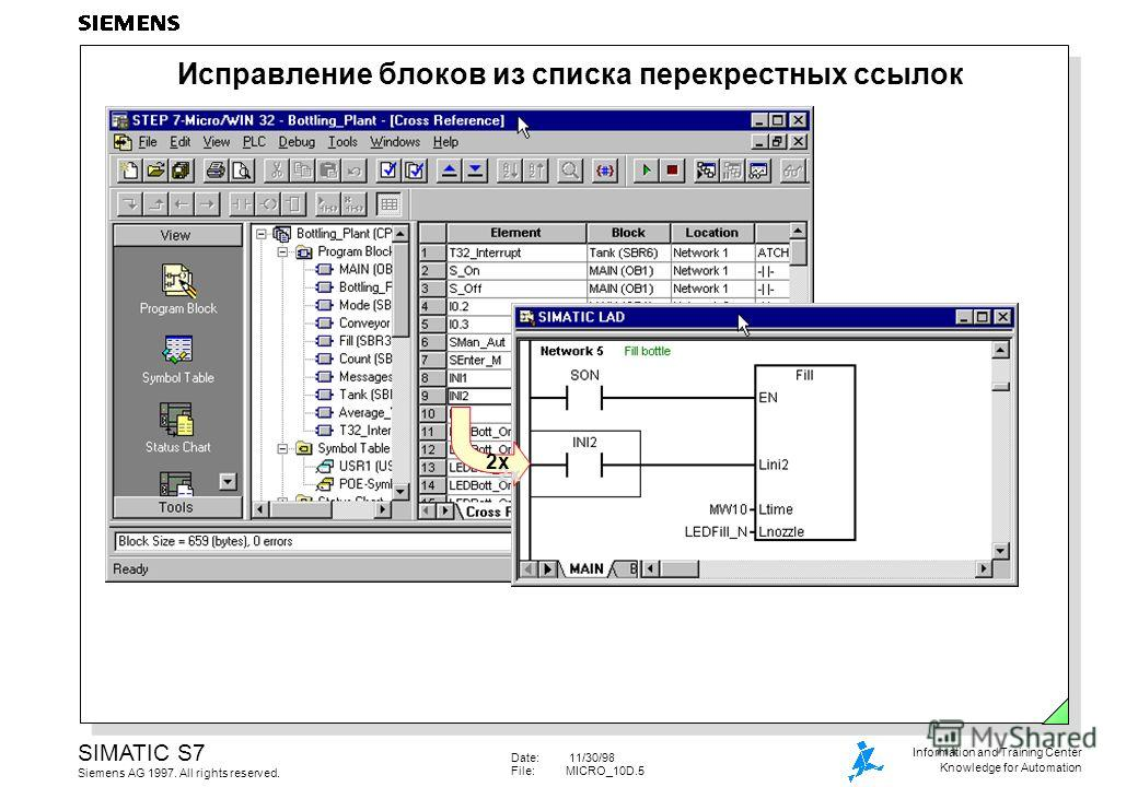 Date: 11/30/98 File:MICRO_10D.5 SIMATIC S7 Siemens AG 1997. All rights reserved. Information and Training Center Knowledge for Automation Исправление блоков из списка перекрестных ссылок 2x