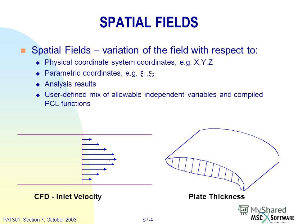 S7-4PAT301, Section 7, October 2003 SPATIAL FIELDS n Spatial Fields – variation of the field with respect to: u Physical coordinate system coordinates, e.g. X,Y,Z u Parametric coordinates, e.g. 1, 2 u Analysis results u User-defined mix of allowable
