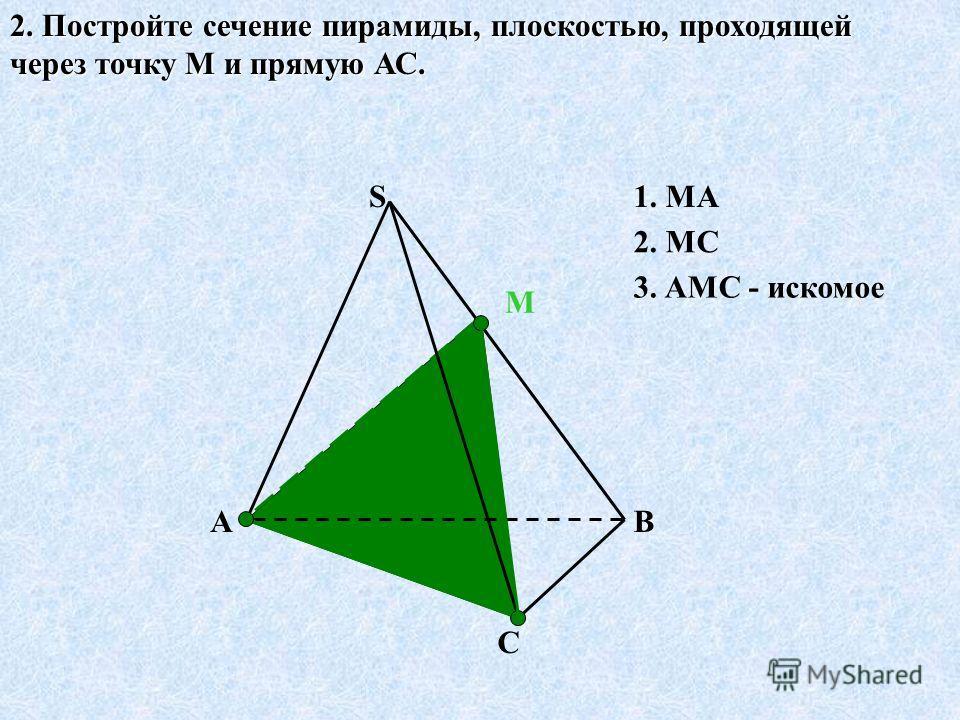 ВА С S 2. Постройте сечение пирамиды, плоскостью, проходящей через точку М и прямую АС. М 1. МА 2. МС 3. АМС - искомое