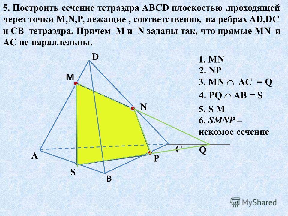 5. Построить сечение тетраэдра ABCD плоскостью,проходящей через точки M,N,P, лежащие, соответственно, на ребрах AD,DC и CB тетраэдра. Причем M и N заданы так, что прямые MN и AC не параллельны. A D C В М N Р 1. MN 2. NP 3. MN AC = Q Q 4. PQ AB = S S