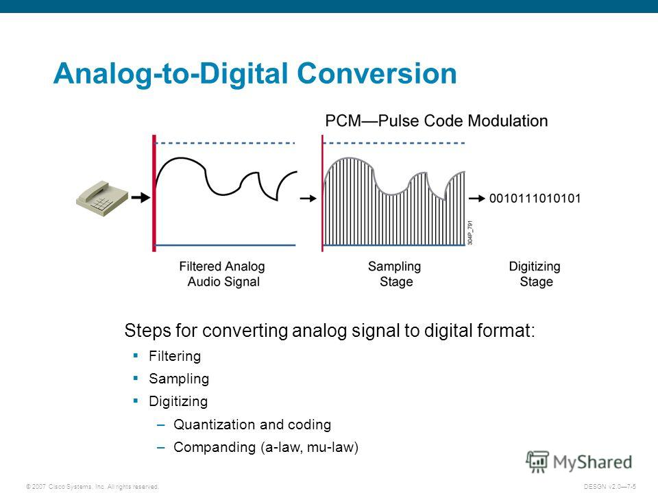 © 2007 Cisco Systems, Inc. All rights reserved.DESGN v2.07-5 Analog-to-Digital Conversion Steps for converting analog signal to digital format: Filtering Sampling Digitizing –Quantization and coding –Companding (a-law, mu-law)