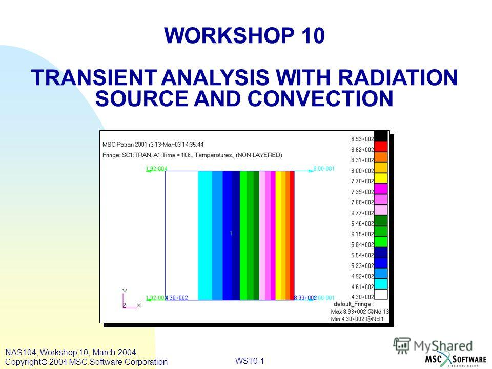 WS10-1 WORKSHOP 10 TRANSIENT ANALYSIS WITH RADIATION SOURCE AND CONVECTION NAS104, Workshop 10, March 2004 Copyright 2004 MSC.Software Corporation