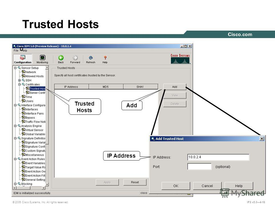 © 2005 Cisco Systems, Inc. All rights reserved. IPS v5.04-18 Trusted Hosts D Add IP Address
