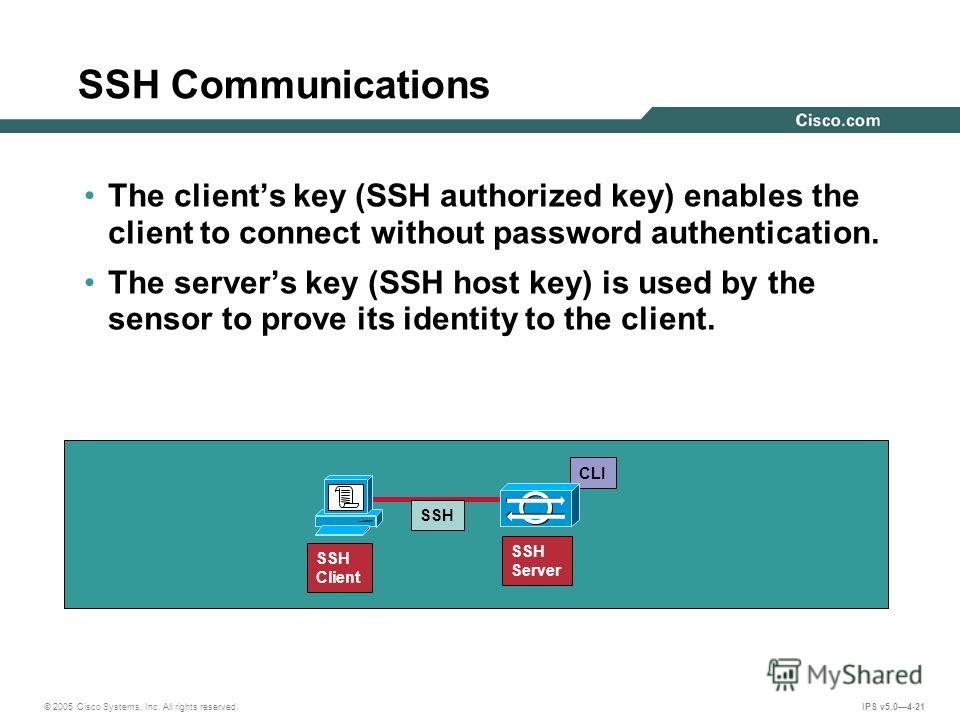© 2005 Cisco Systems, Inc. All rights reserved. IPS v5.04-21 SSH Communications The clients key (SSH authorized key) enables the client to connect without password authentication. The servers key (SSH host key) is used by the sensor to prove its iden