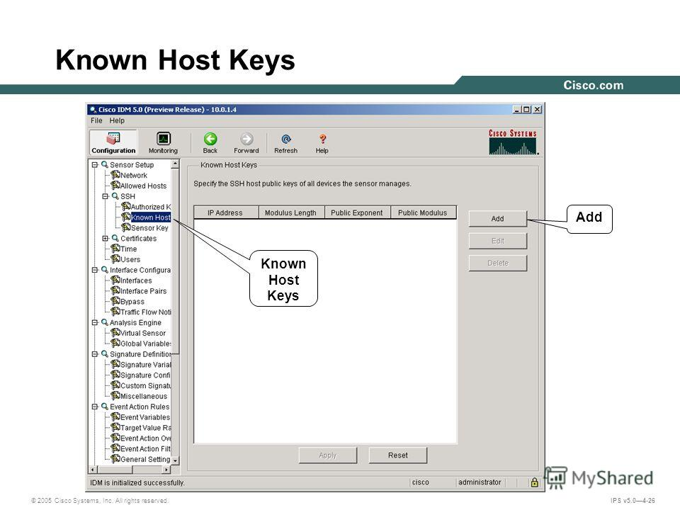 © 2005 Cisco Systems, Inc. All rights reserved. IPS v5.04-26 Known Host Keys R Add Known Host Keys