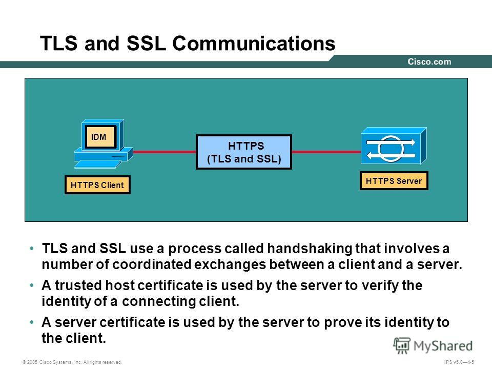 © 2005 Cisco Systems, Inc. All rights reserved. IPS v5.04-5 TLS and SSL Communications TLS and SSL use a process called handshaking that involves a number of coordinated exchanges between a client and a server. A trusted host certificate is used by t