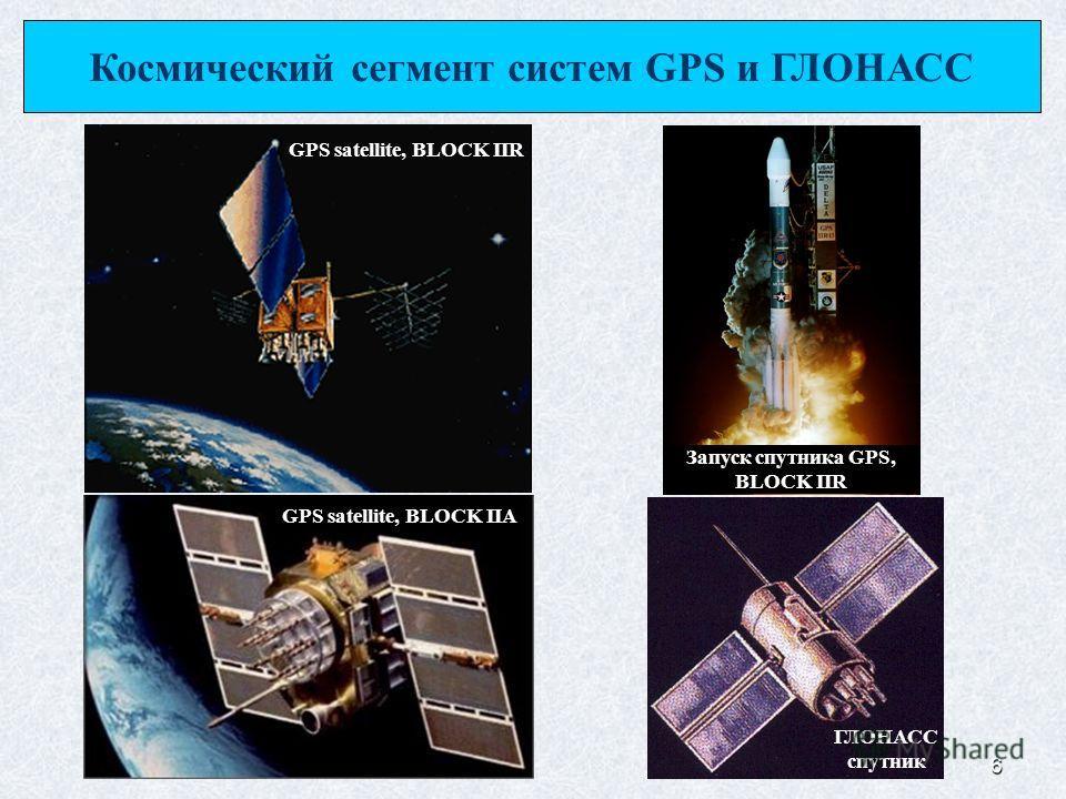 6 Космический сегмент систем GPS и ГЛОНАСС ГЛОНАСС спутник GPS satellite, BLOCK IIA GPS satellite, BLOCK IIR Запуск спутника GPS, BLOCK IIR