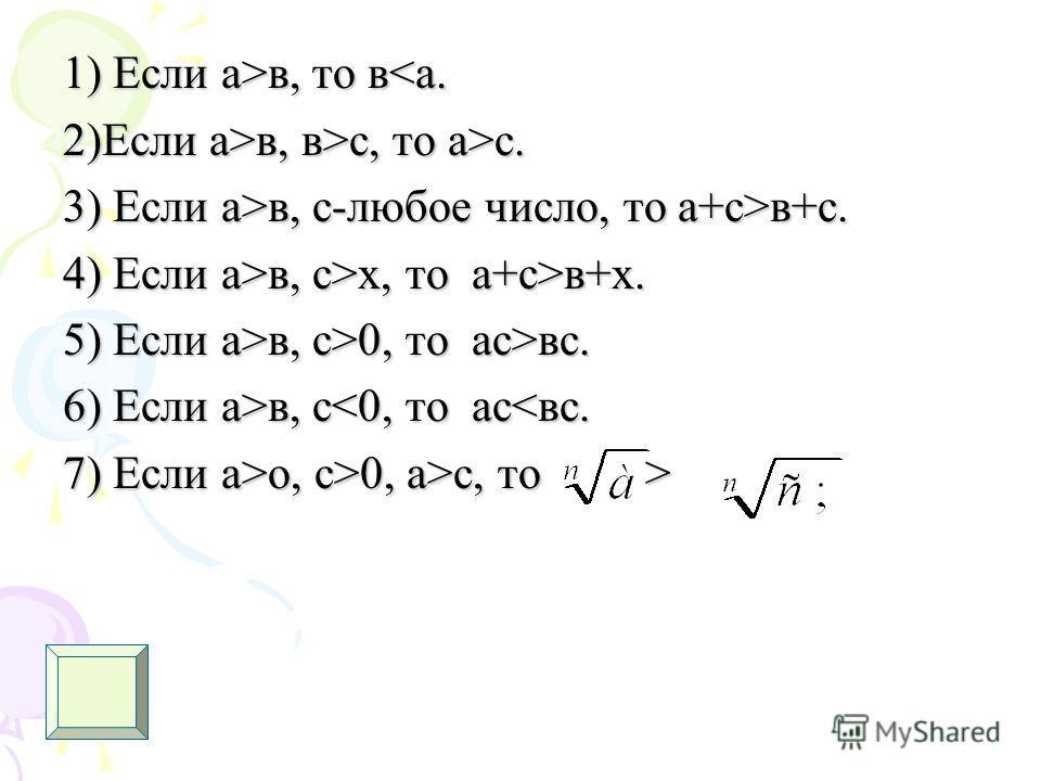 1) Если а>в, то в в, то вв, в>с, то а>с. 3) Если а>в, с-любое число, то а+с>в+с. 4) Если а>в, с>х, то а+с>в+х. 5) Если а>в, с>0, то ас>вс. 6) Если а>в, с в, с0, а>с, то >