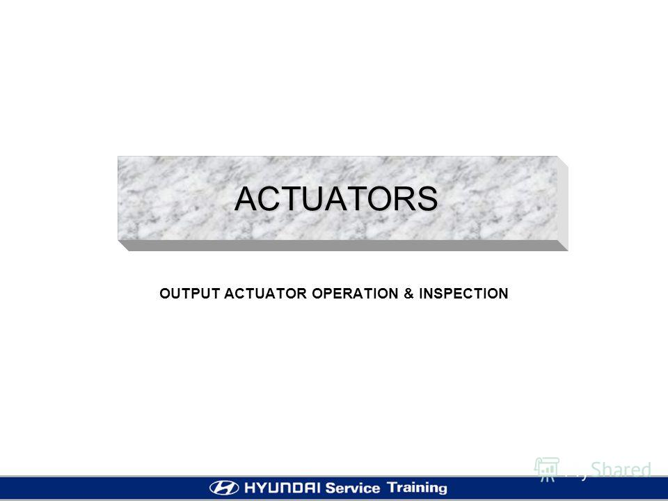 ACTUATORS OUTPUT ACTUATOR OPERATION & INSPECTION